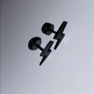Black lightning bolt stud earrings